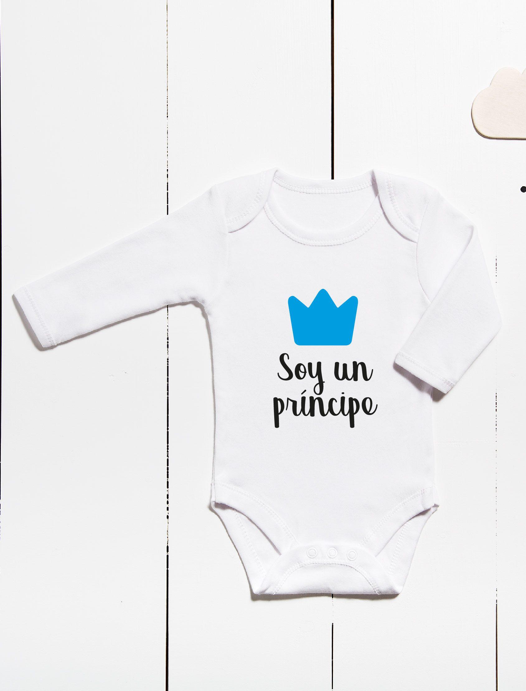 Body para bebés ml con mensaje soy un principe y corona en color azul