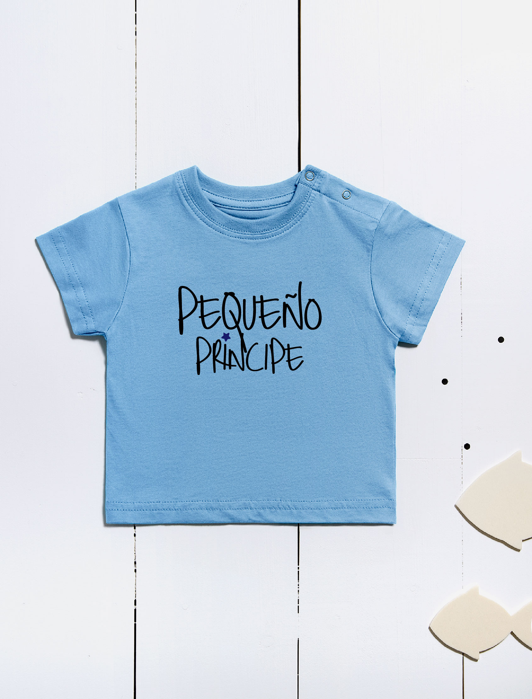 camiseta infantil de manga corta con mensaje pequeño principe en color azul