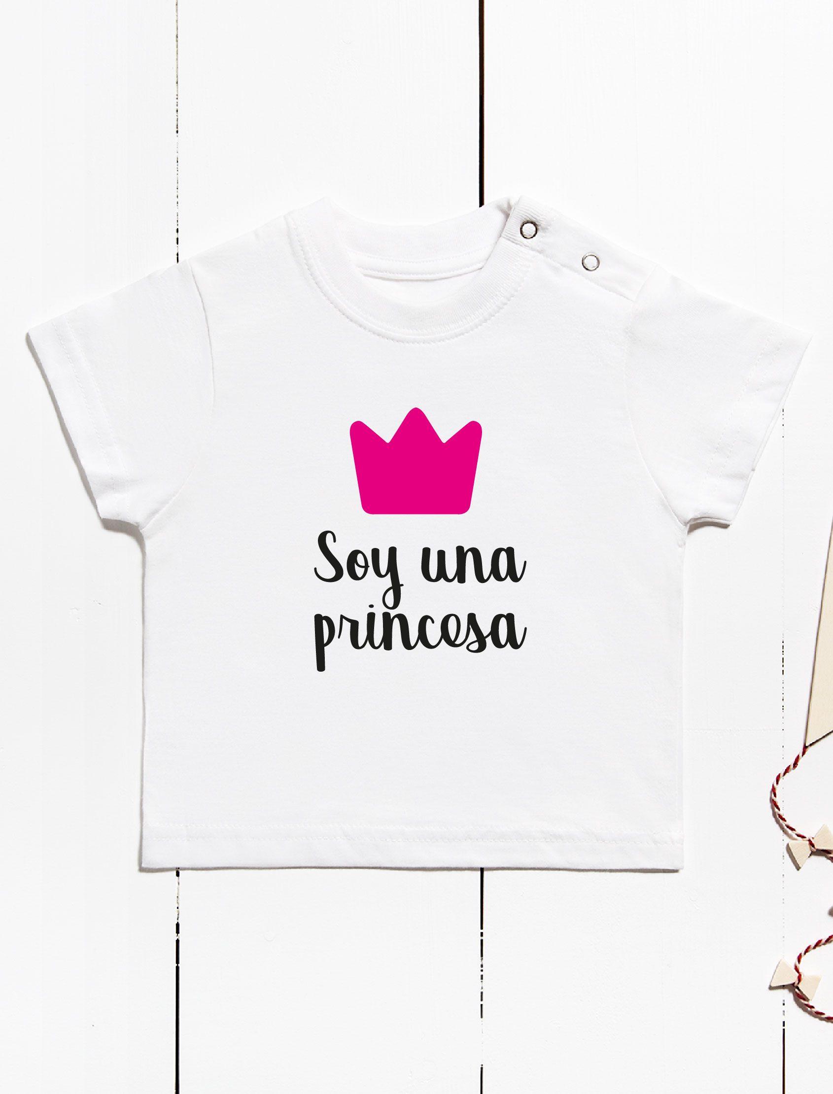 camiseta infantil manga corta con mensaje soy una princesa y corona de reina