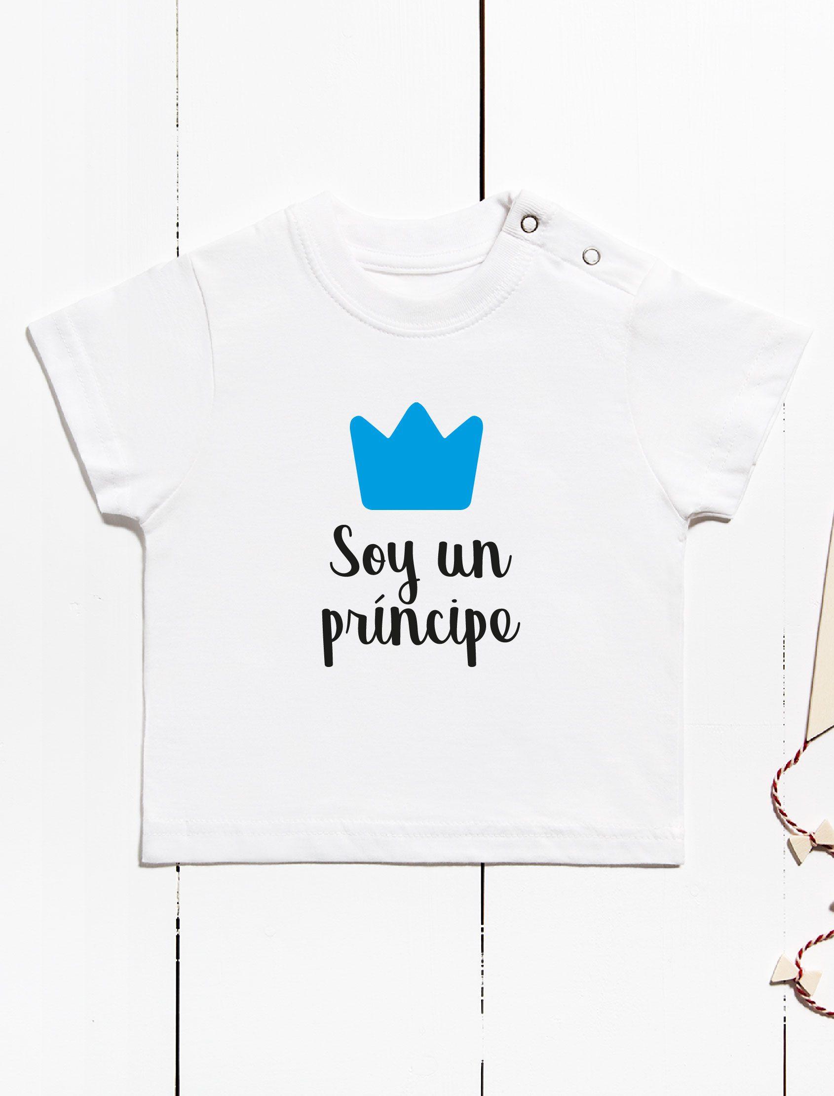 camiseta infantil con mensaje soy un principe y corona azul