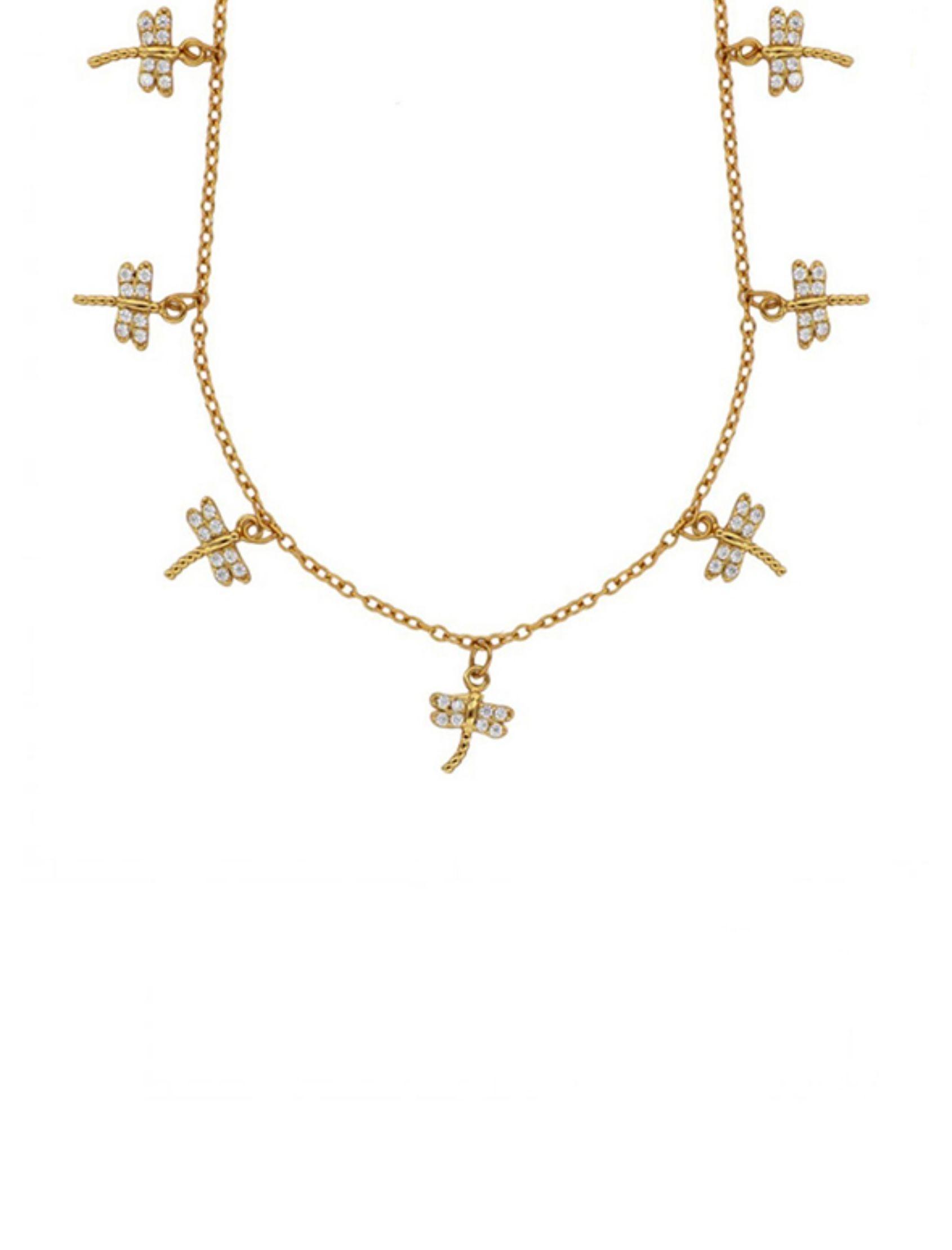 collar choker dragonfly oro con libelulas de circonitas blancas