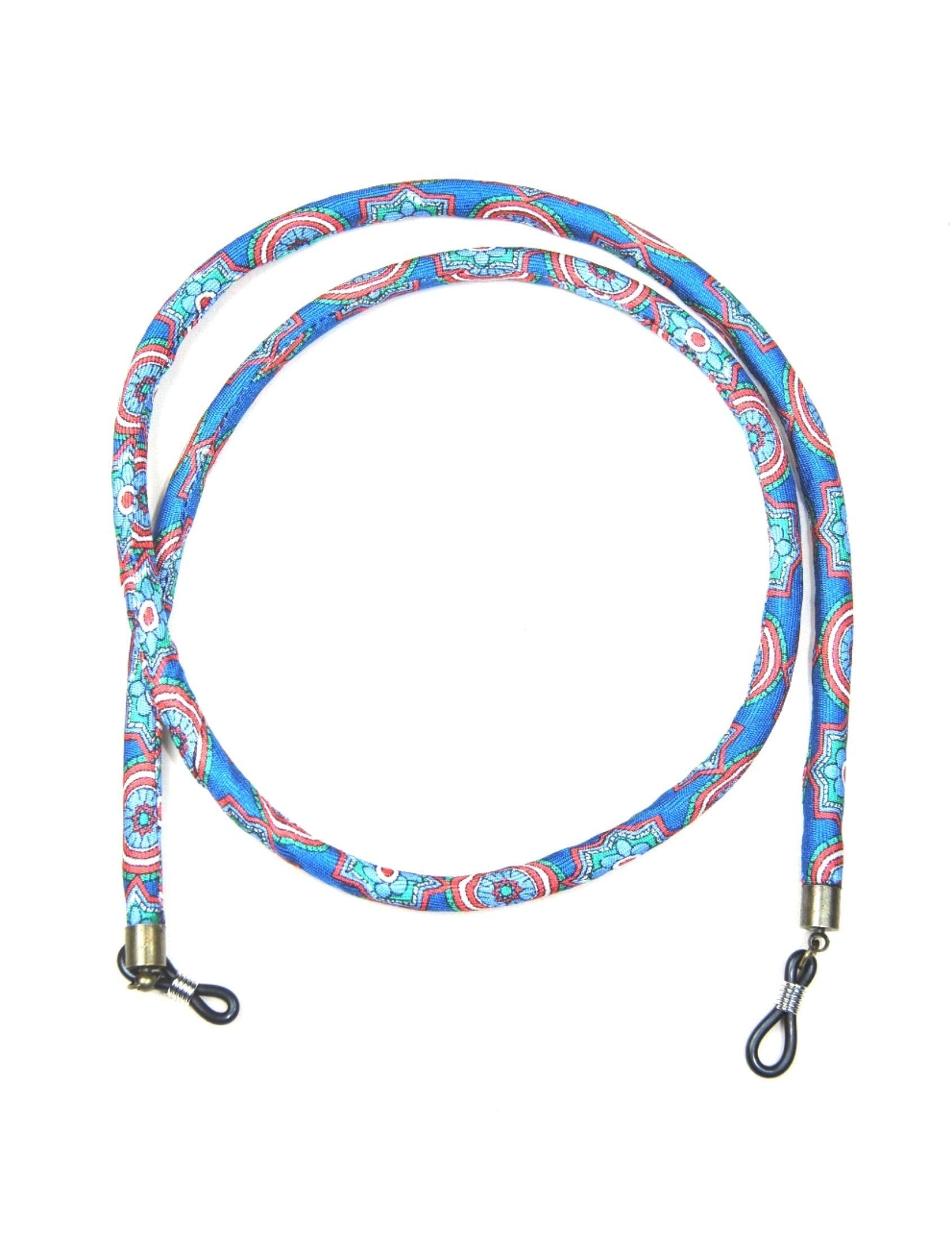 cordón de gafas en seda natural escudos de luz con estampado multicolor sobre fondo azul