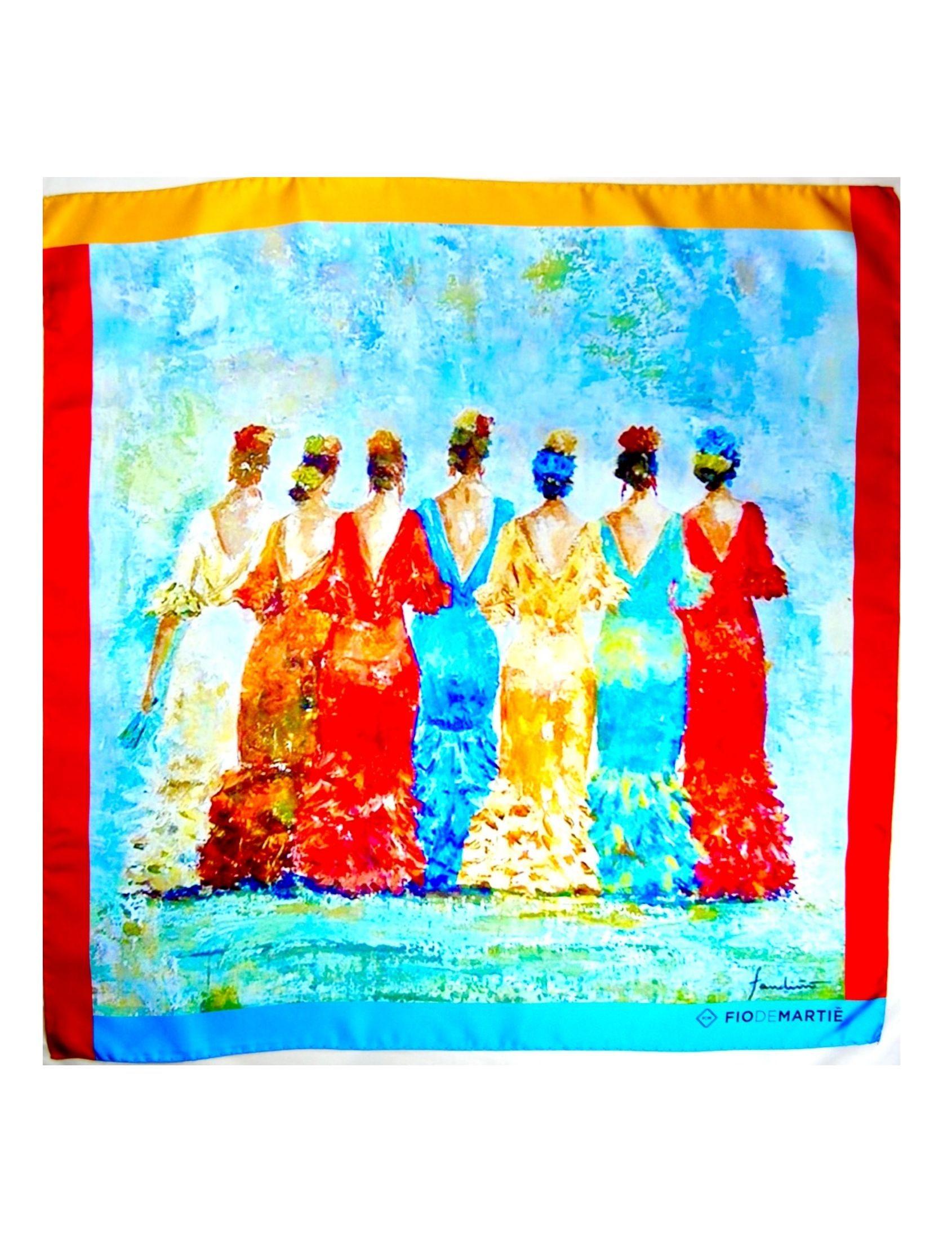 Pañuelo de mujer en seda italiana. Hecho a mano. Espectacular colorido. Estampado con un cuadro de la pintora coruñesa Pilar Fandiño que se ha pasado a la seda por impresión digital.