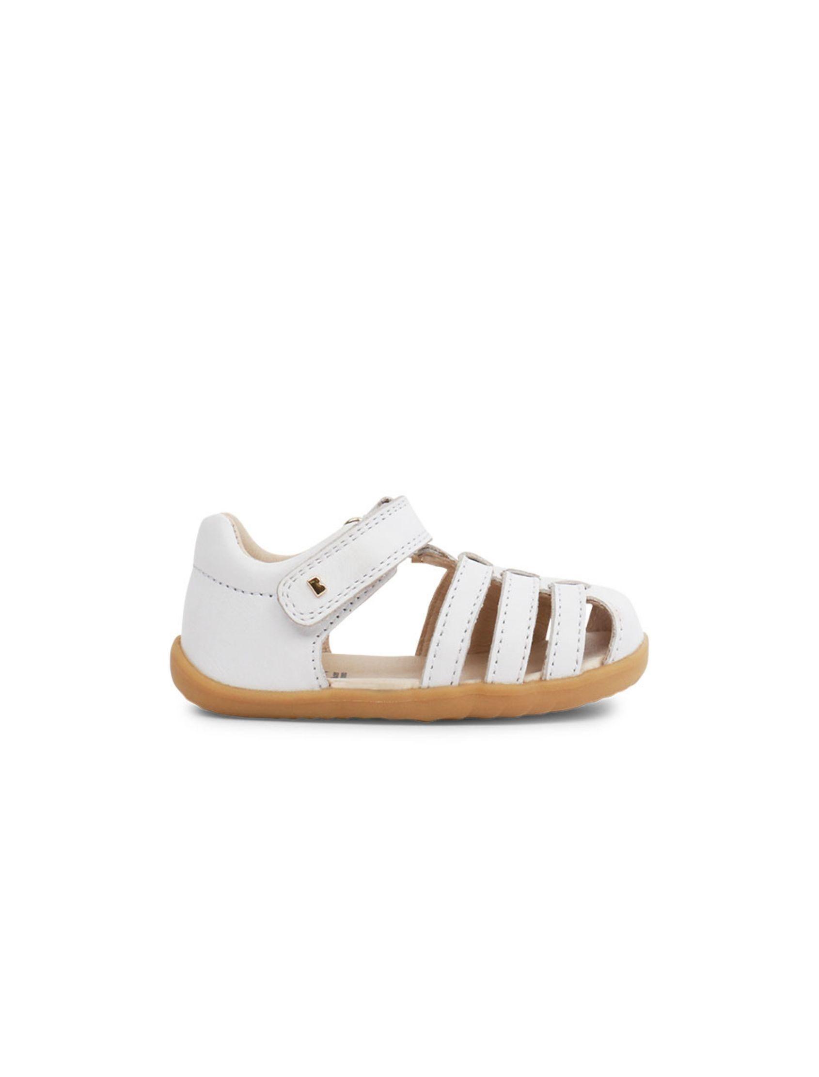 sandalia de niño y niña step up jump estilo cangrejera blanco con suela marrón