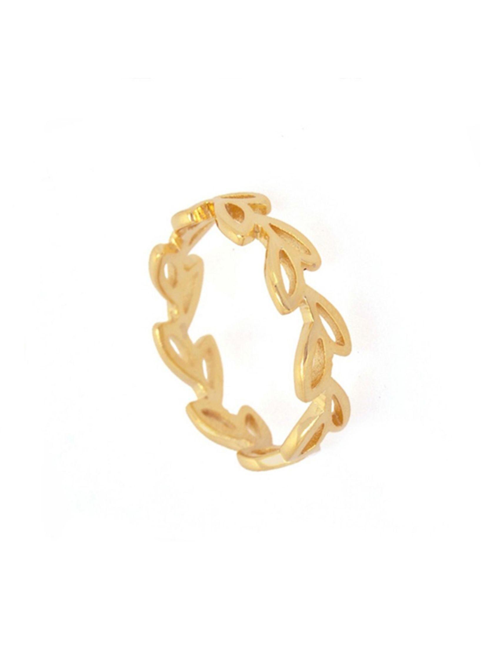 anillo flora en oro estilo alianza con hojas entrelazadas