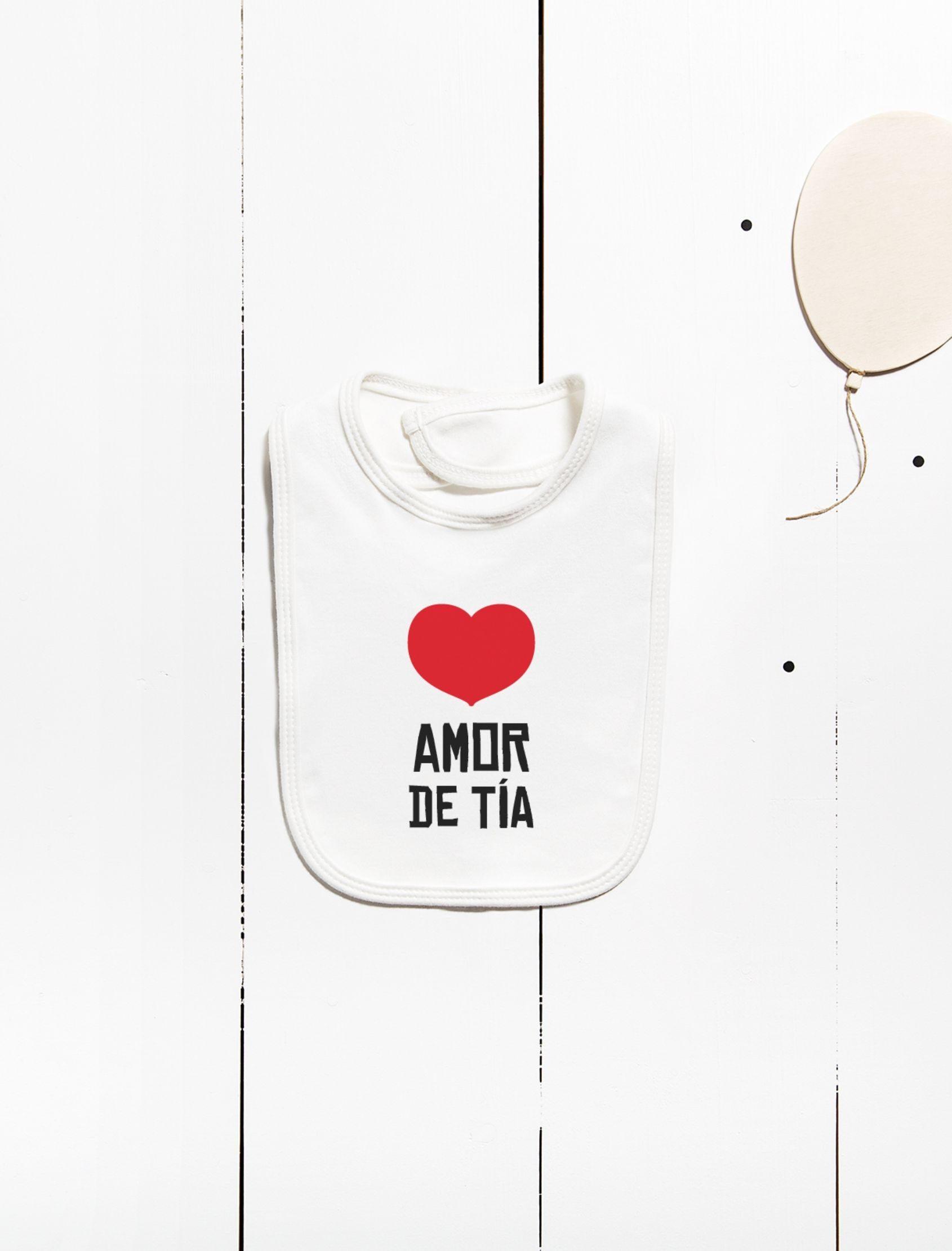 babero amor de tía en algodón con mensaje amor de tia y corazón rojo