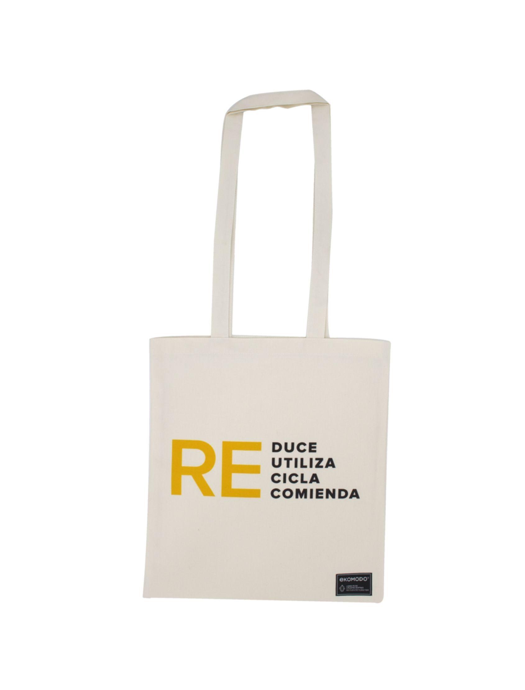 tote bag dana con mensaje reduce reutiliza recicla recomienda de algodón