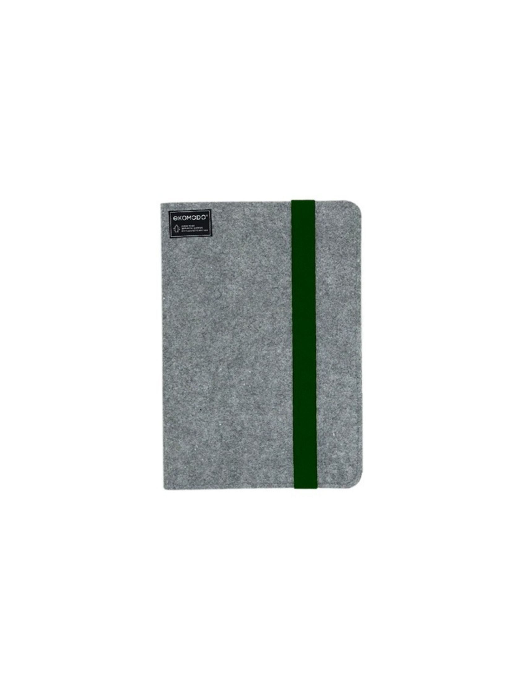 carpeta ofis regular en color gris con fajin de goma verde ideal para documentos el portátil o la tablet