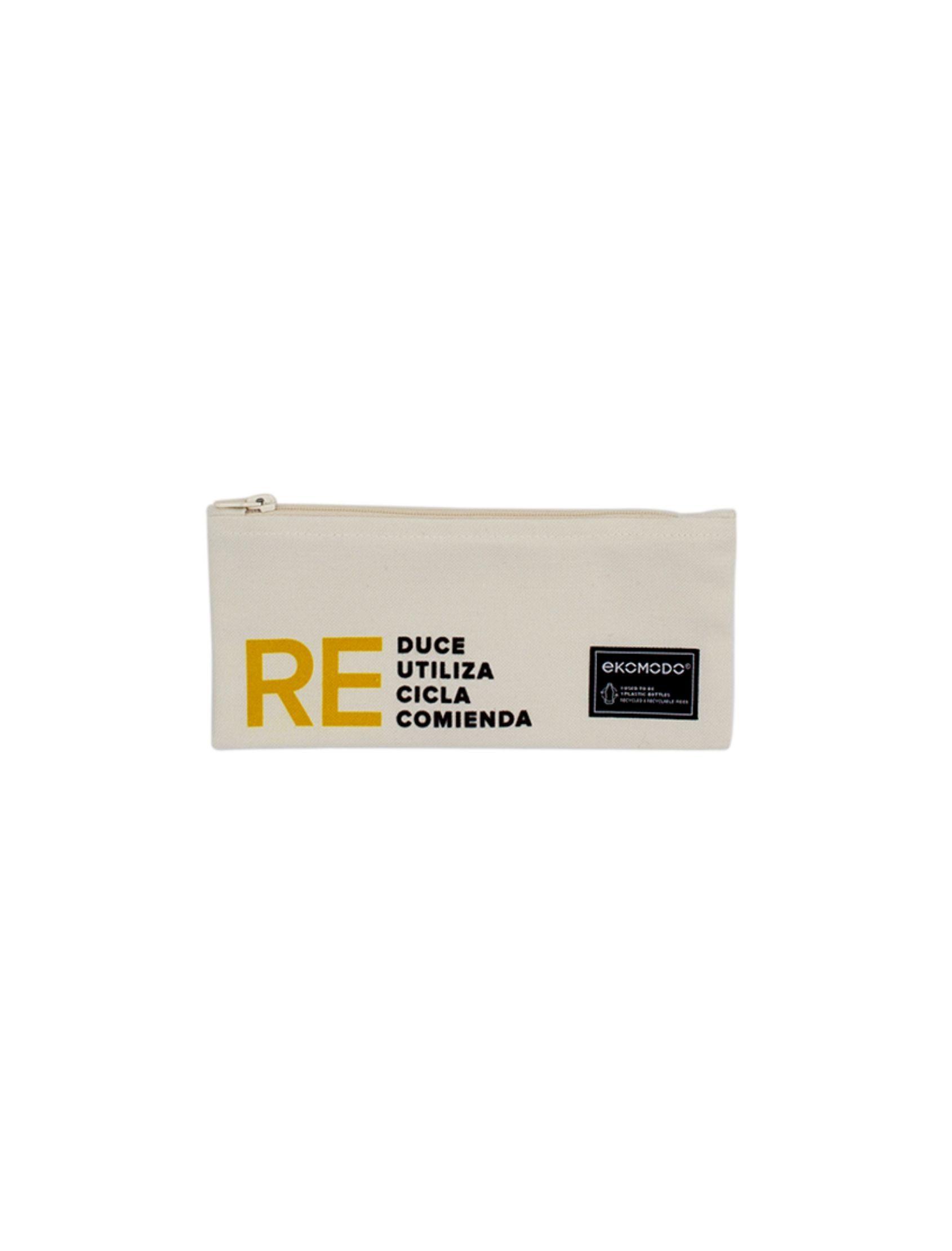 estuche margo re con materiales reciclados y mensaje reutiliza reduce recicla recomienda