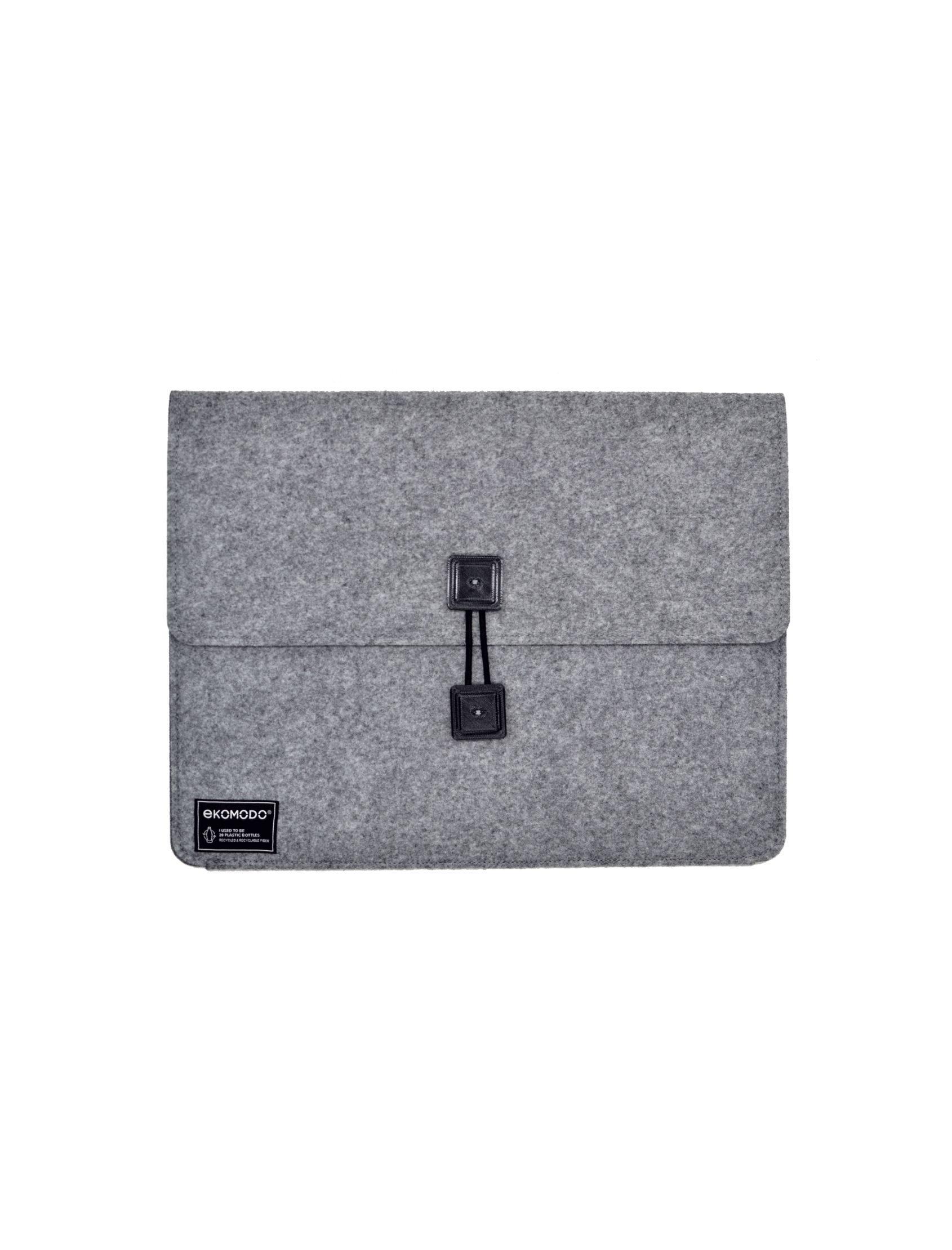 funda bat regular en gris con botones negros de tejido reciclado para documentos, portátil, libros...