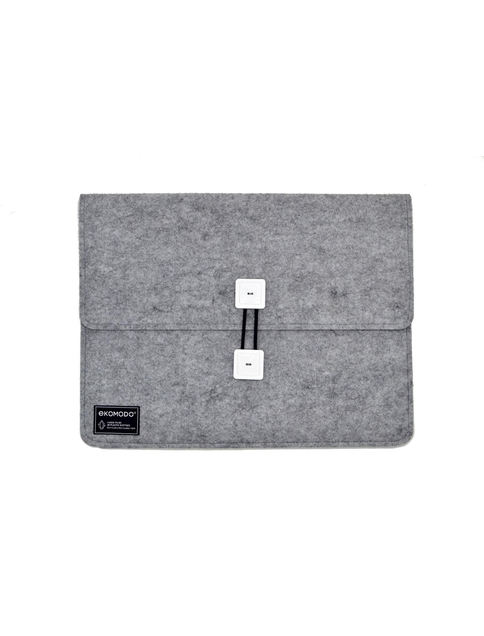 funda bat regular en gris con botones blancos de tejido reciclado para documentos, portátil, libros...