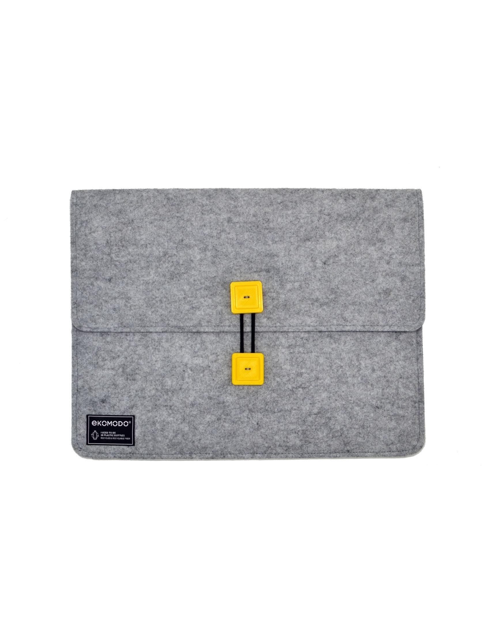 funda bat regular en gris con botones amarillos de tejido reciclado para documentos, portátil, libros...