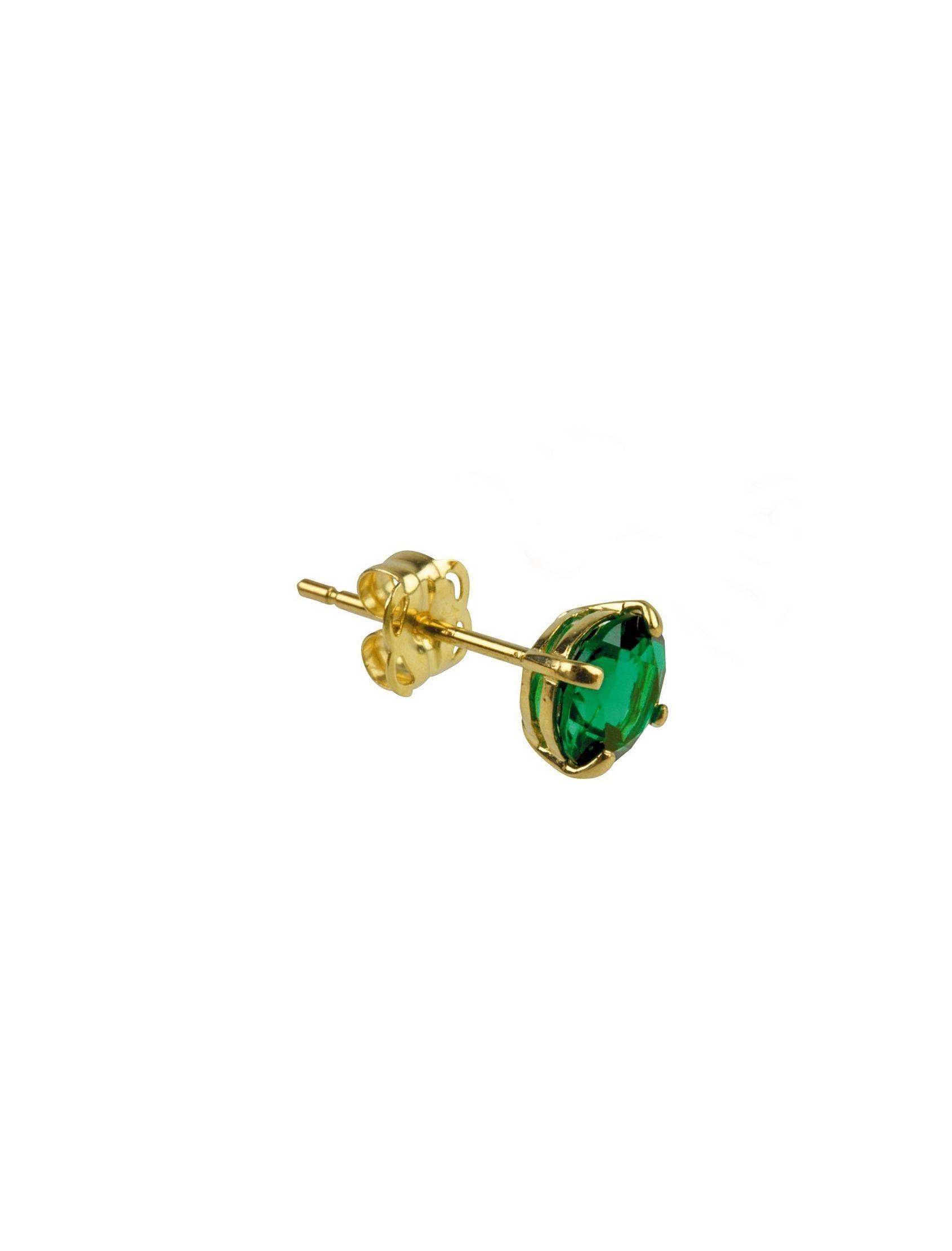 pendiente mini de oro con circonita verde esmeralda