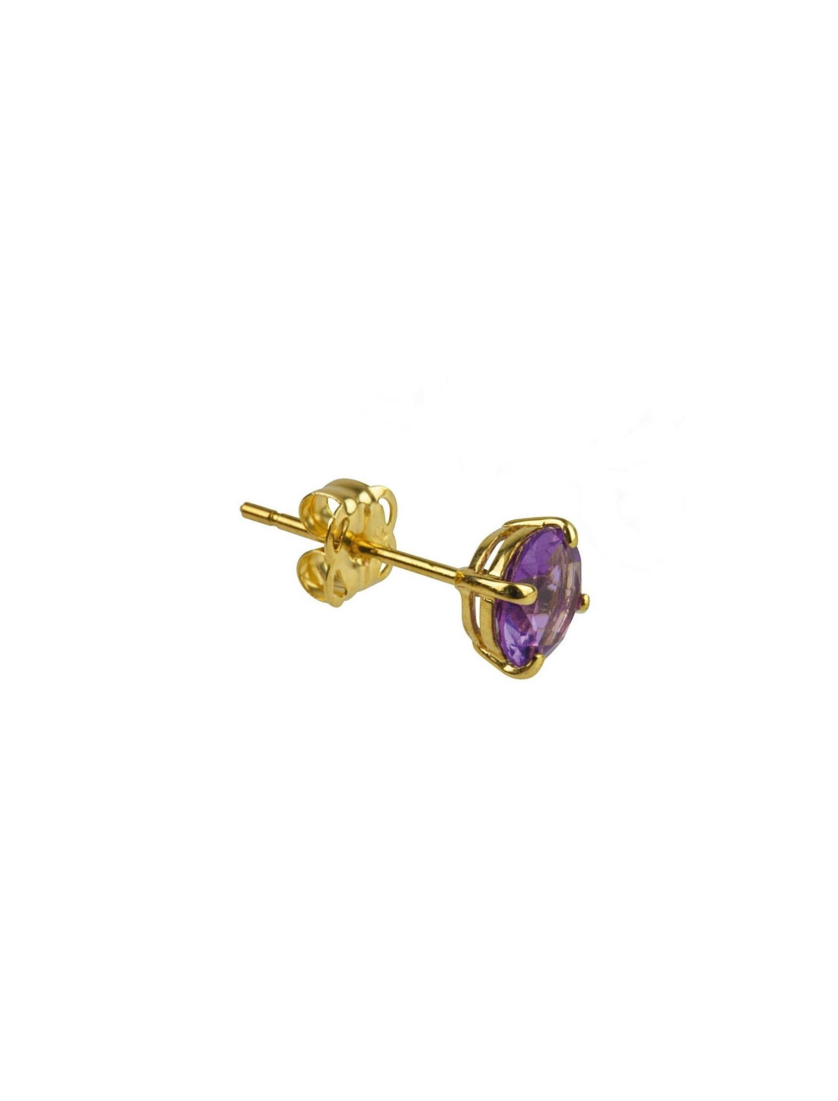 mini pendiente oro con circonita violeta ideal para combinar con otros