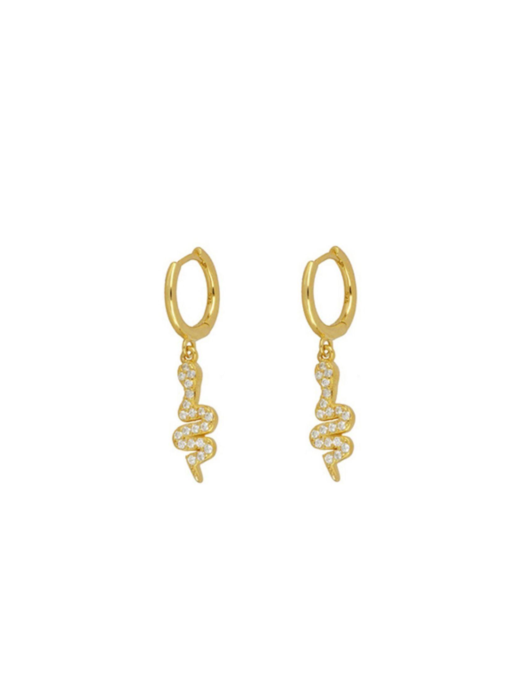 pendientes aro shiny snake con charm de serpiente en oro y circonitas blancas
