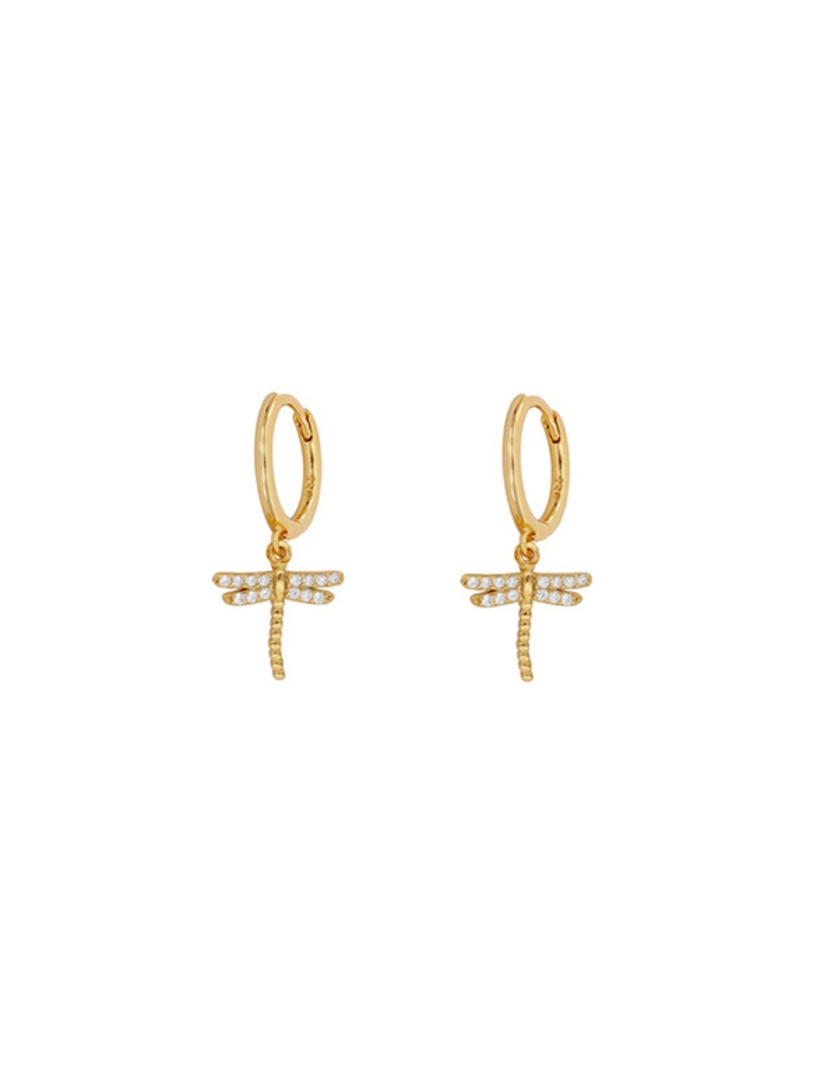 pendientes aro dragonfly con charm de libélula en oro