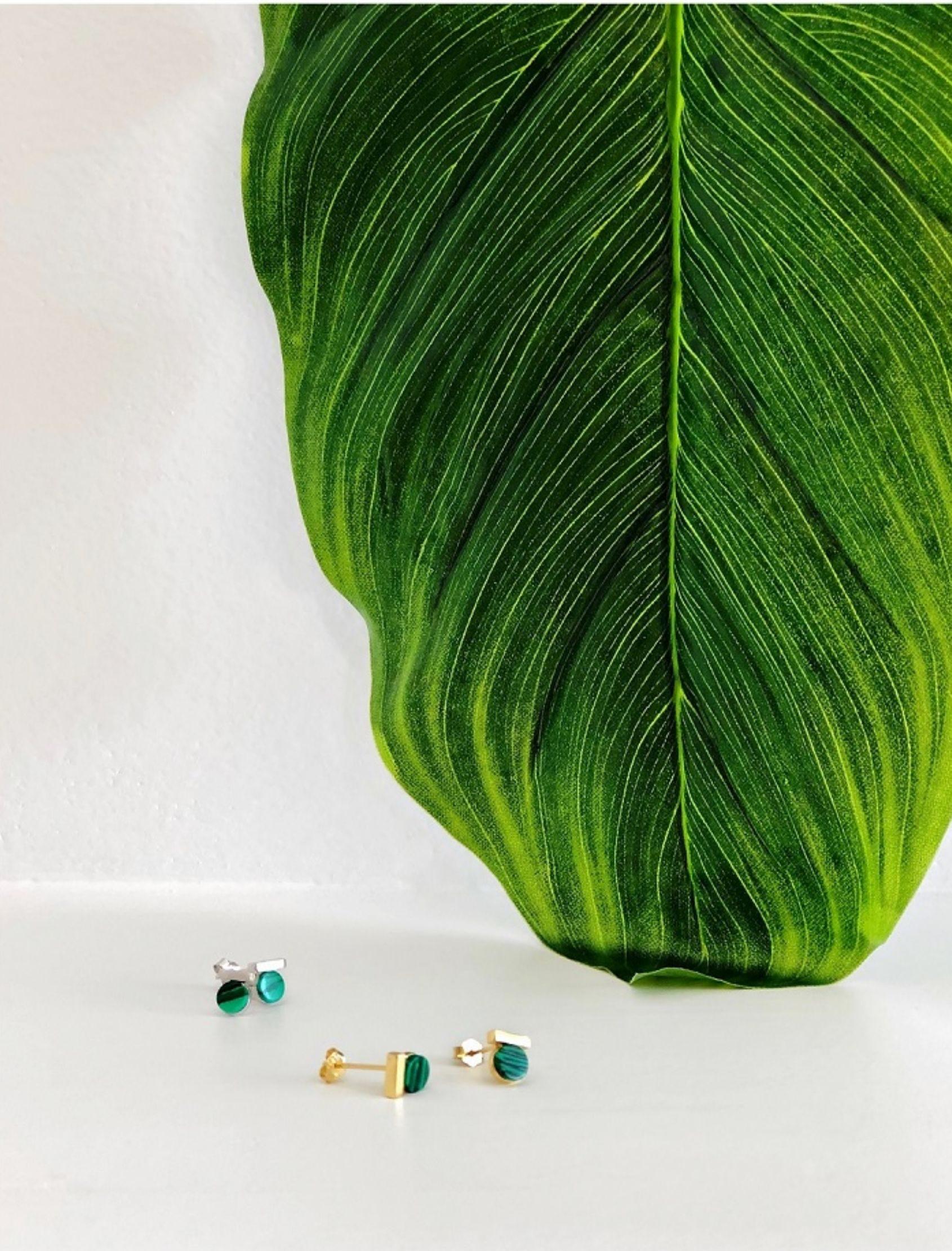 pendientes plata victoria amazonica con malaquitas verdes marmoladas