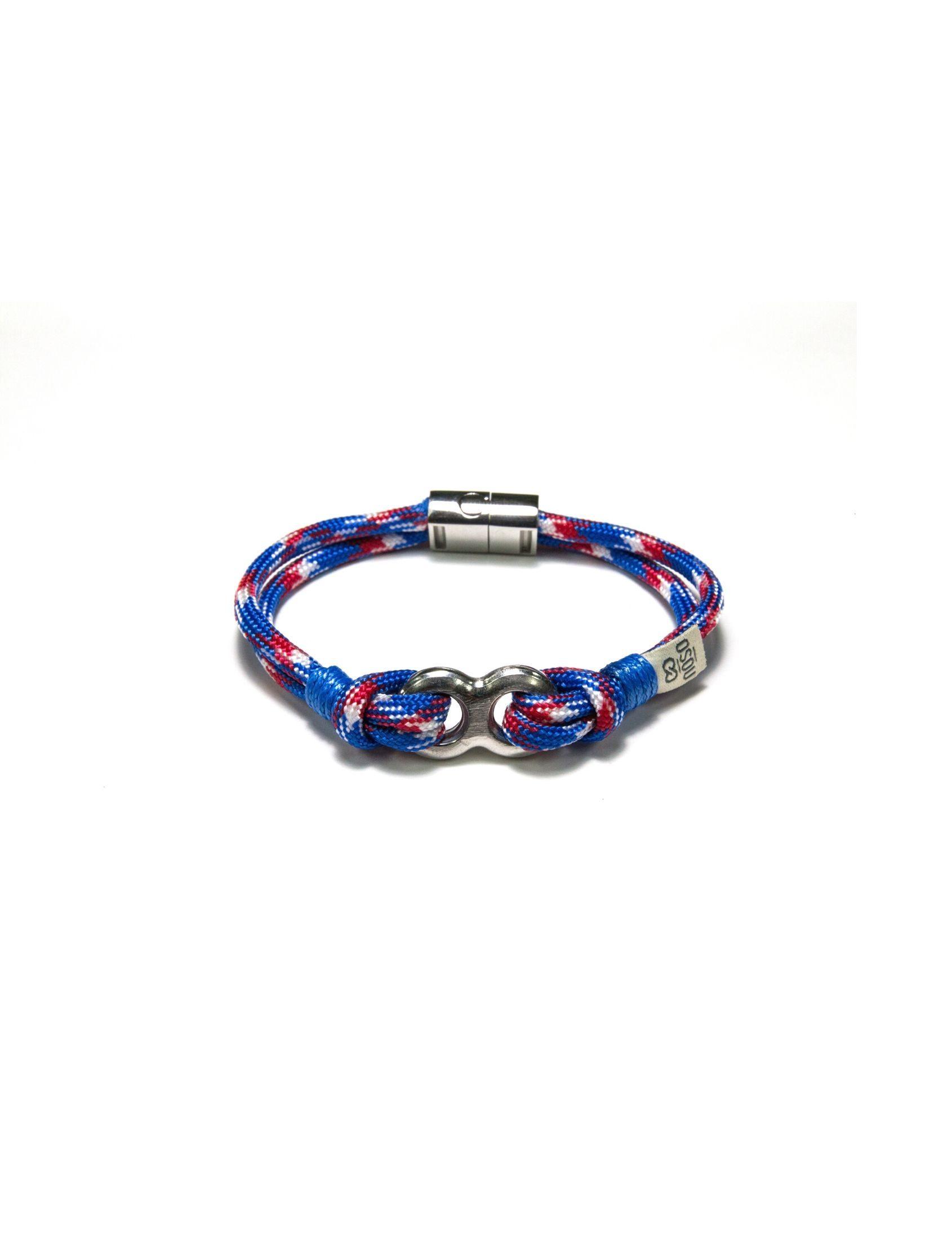 pulsera masculina de cordones en color azul blanco y rojo con pieza de acero inoxidable