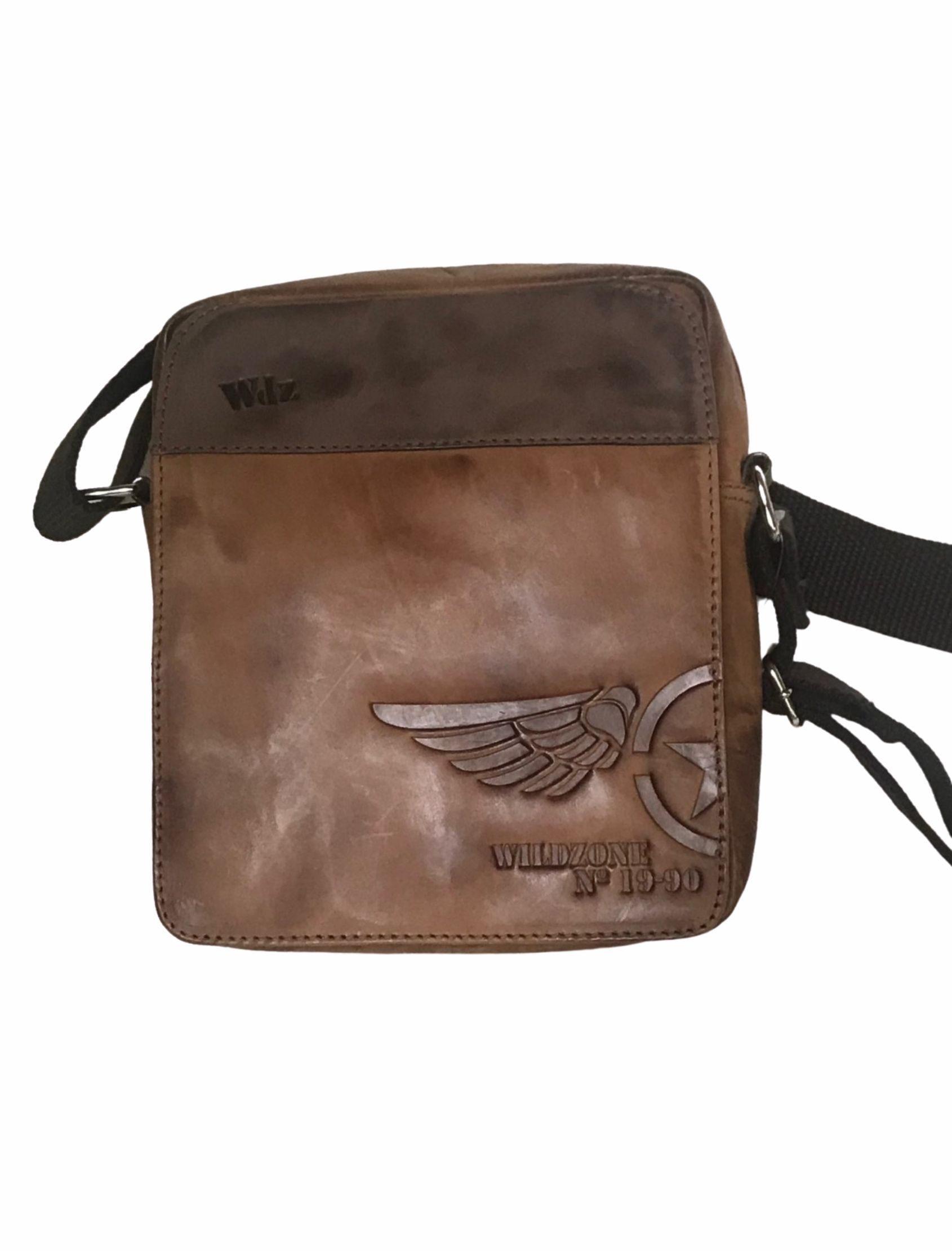 bolso bandolera cuero para chico en color marron