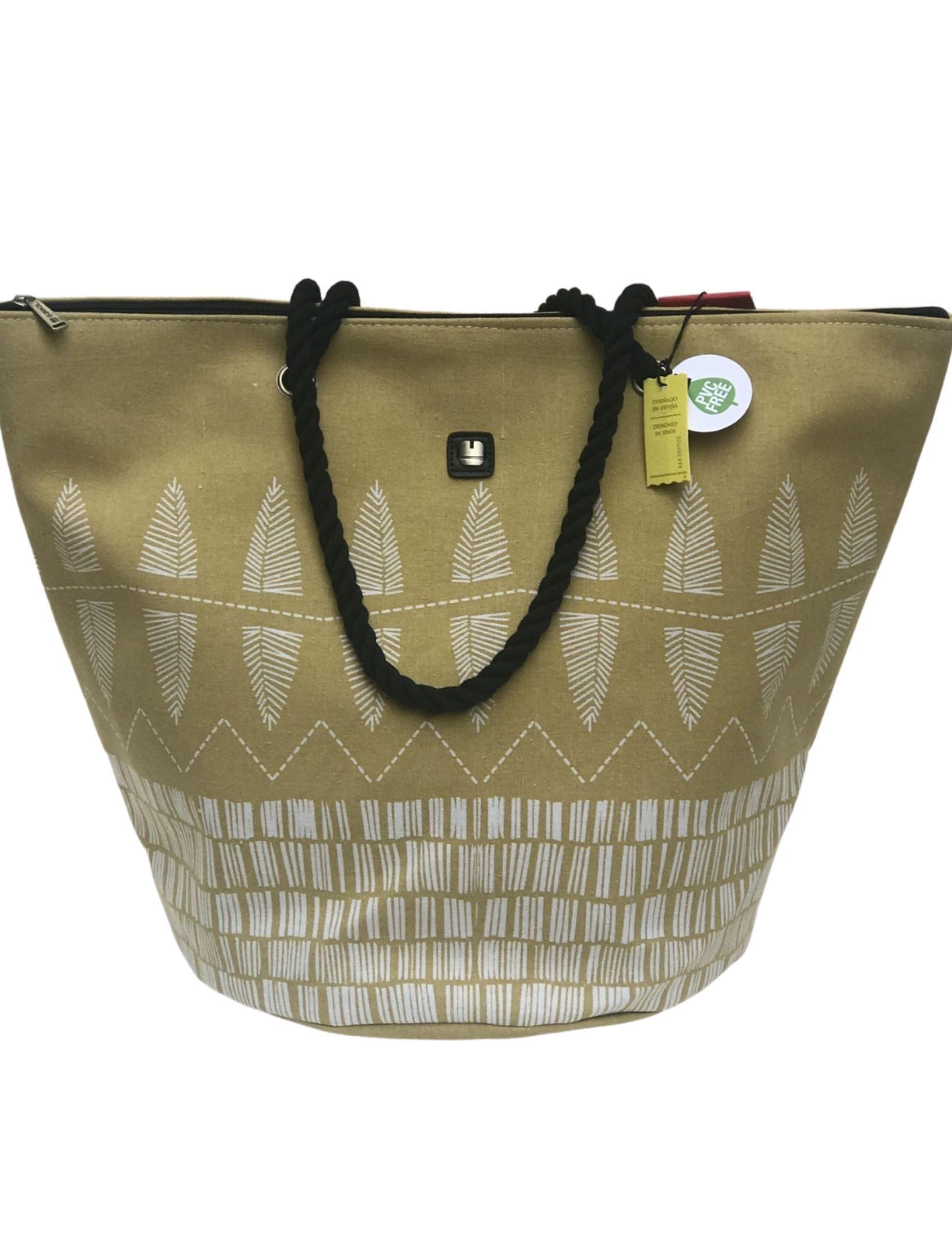 Bolsa de playa con tejido de algodón en color mostaza y estampado azteca en blanco