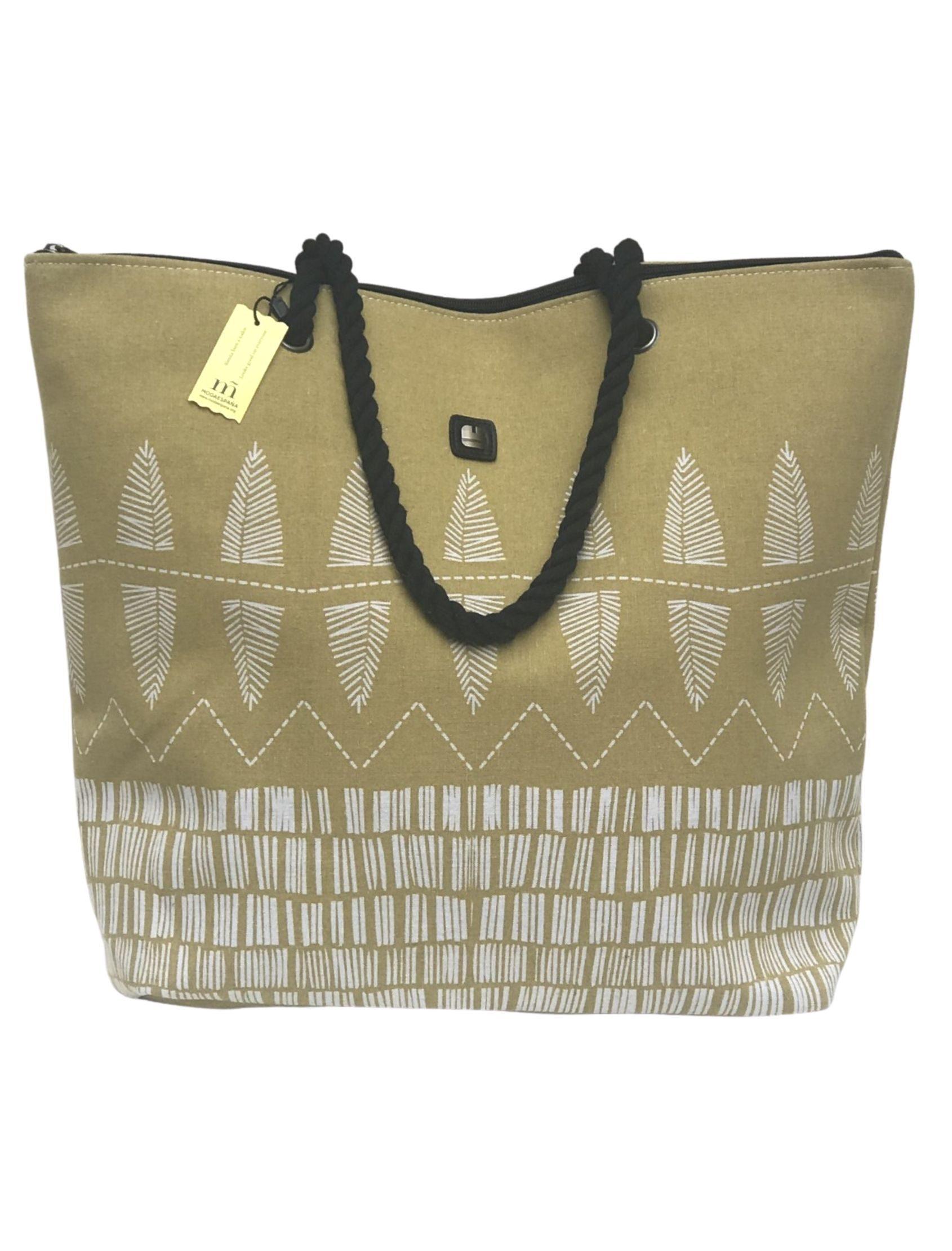 Bolsa de playa algodón en color mostaza con estampado blanco