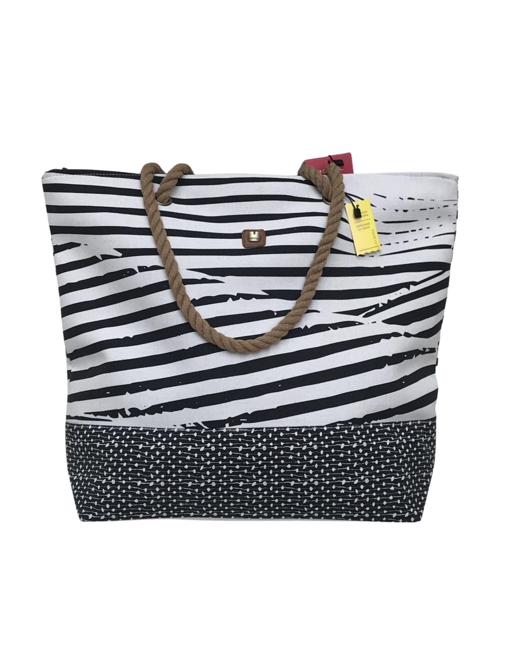 bolsa playa algodon negro y blanco con estampado de rayas