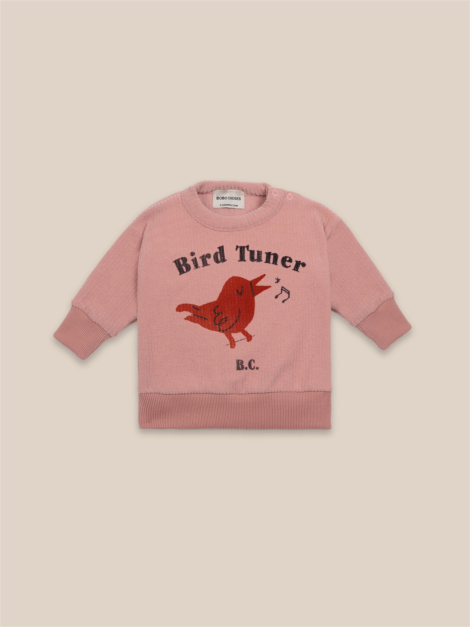 Sudadera jersey bird con ilustracion de pájaro y coma en puños y cuerpo