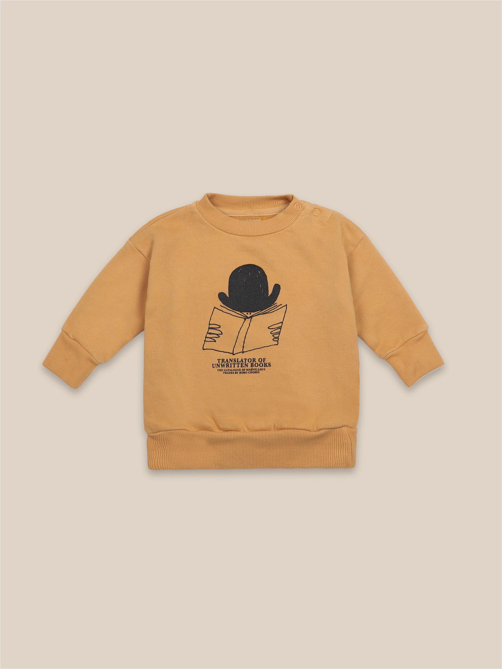Sudadera mostaza con dibujo de sombrero para bebés