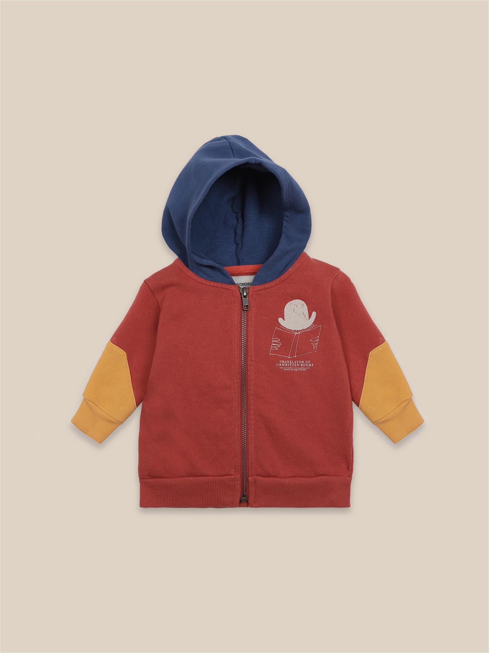 Sudadera cremallera tricolor rojo amarillo y azul para bebé