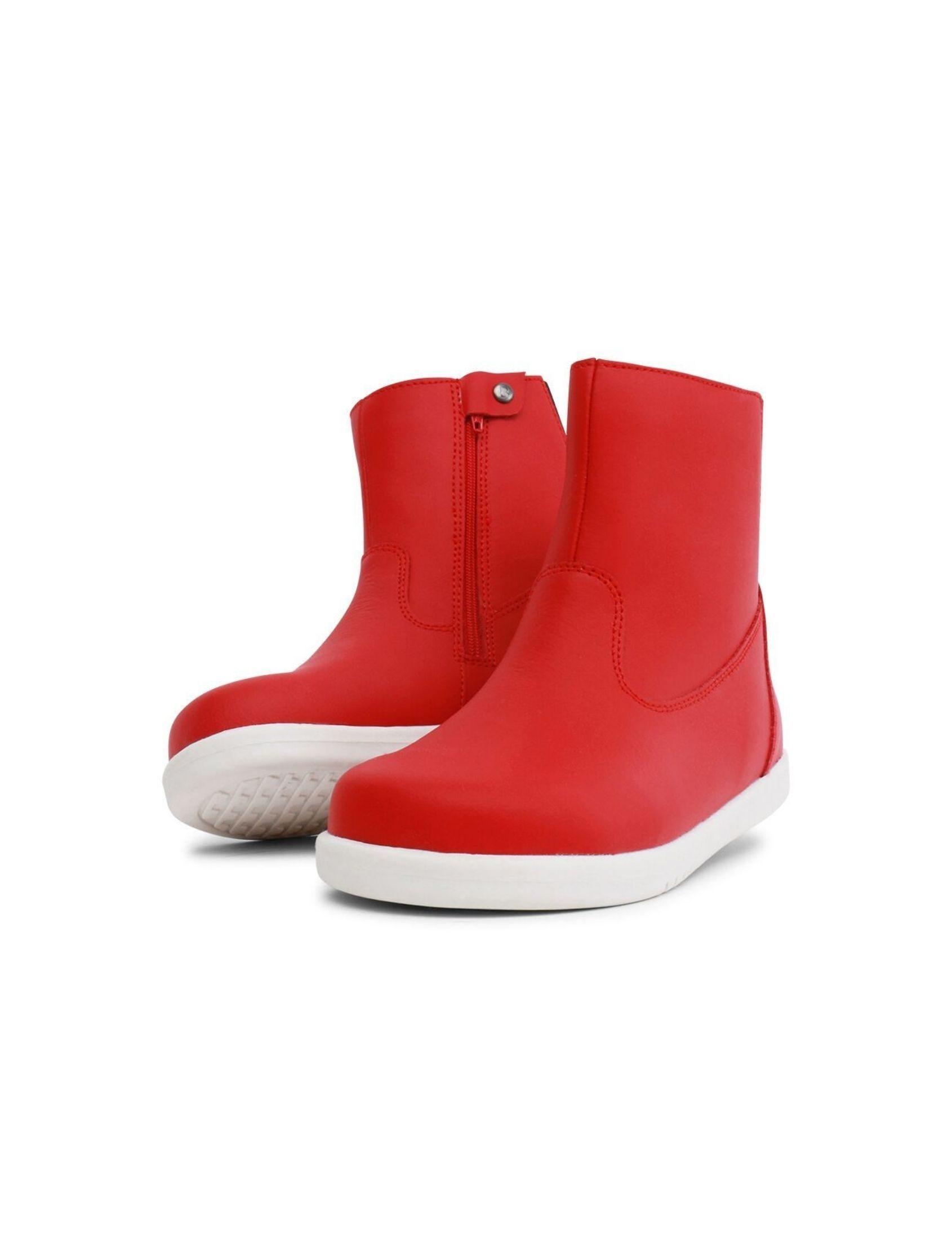 botin iwalk rojo de goma con suela blanca
