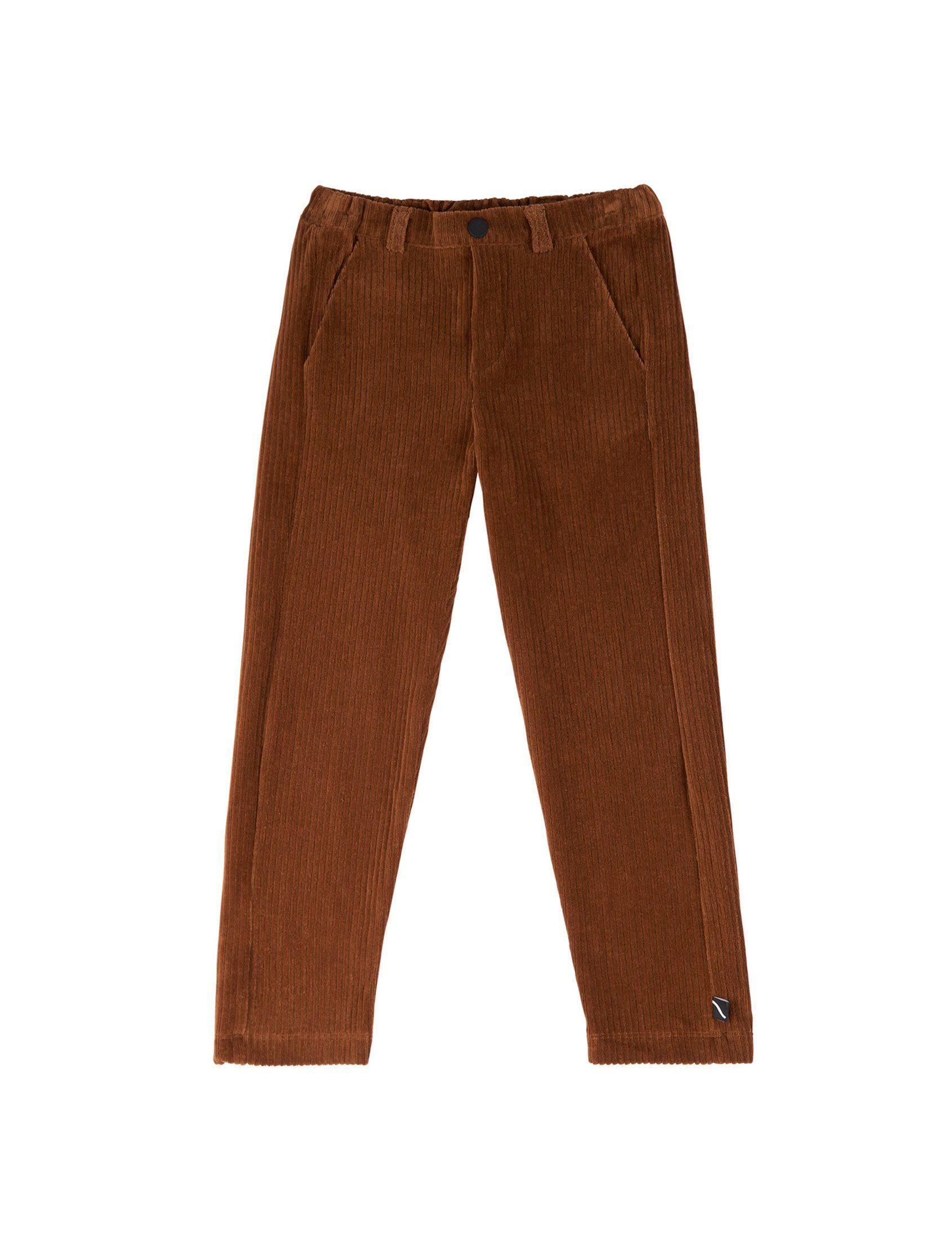 Pantalón chino de pana carlijnq cómodo y elegante en pana marrón. Provisto de cinturilla elástica y ajustable. ¡Iimprescindible para esta temporada!