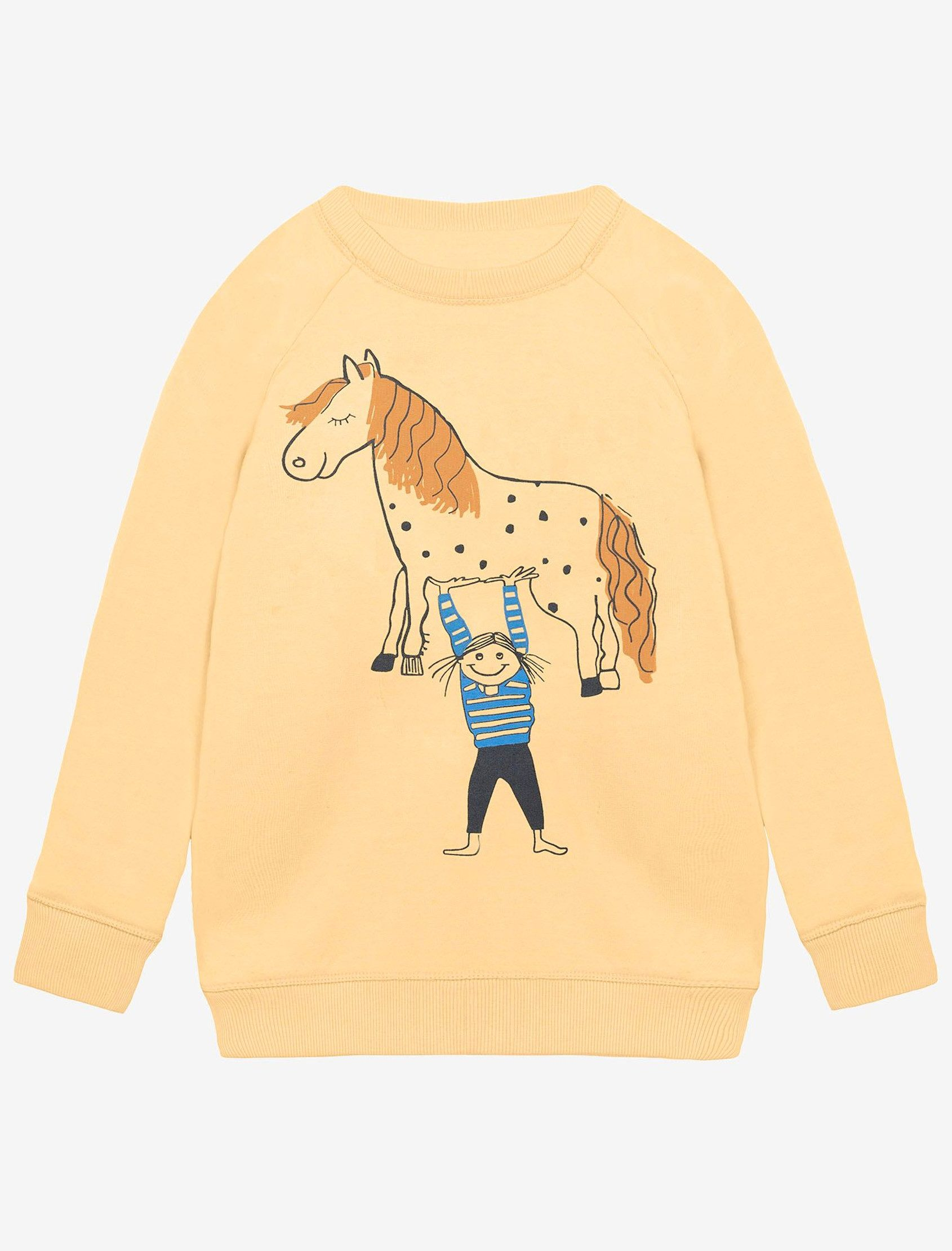 Sudadera casual unisex color vainilla con mangas ranglan y estampado Yeah! ¡Somos tan fuertes que podemos levantar un caballo de verdad! Este modelo tiene un acabado calentito afelpado.
