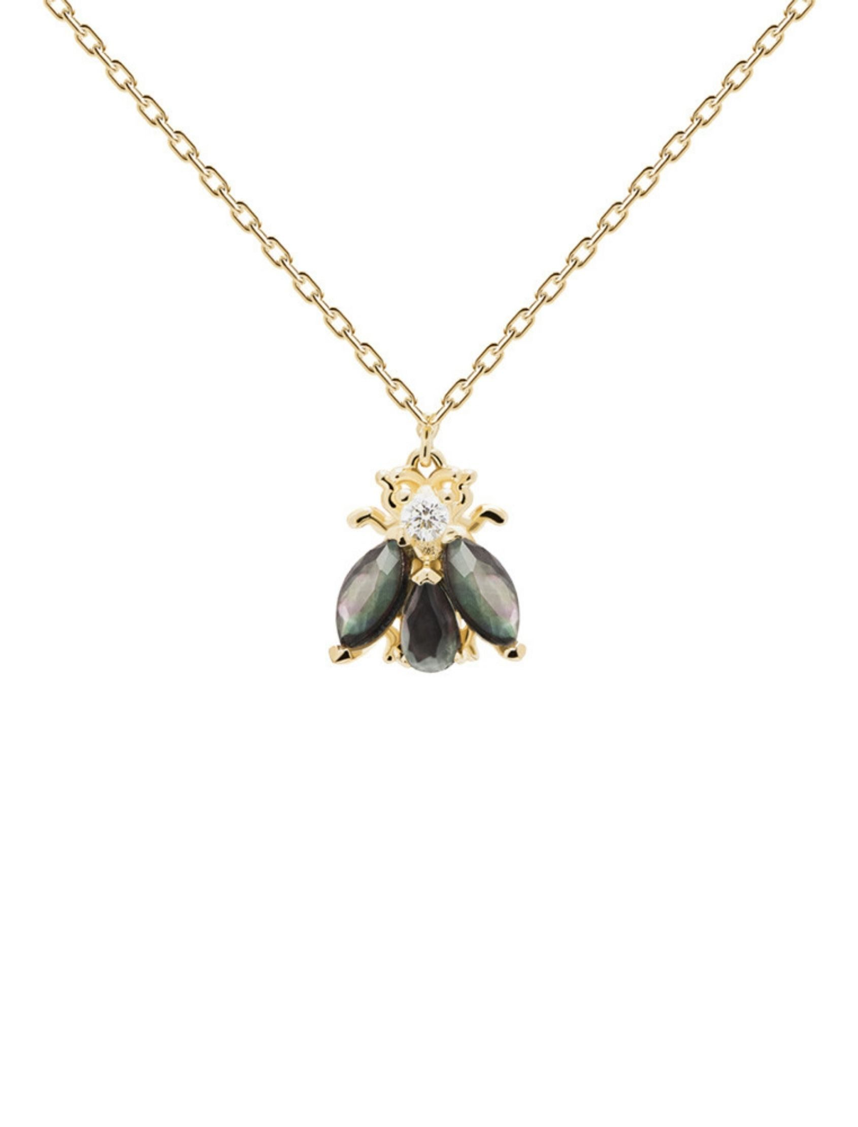 collar zaza oro con circonitas inspirado en los virtuosos insectos voladores