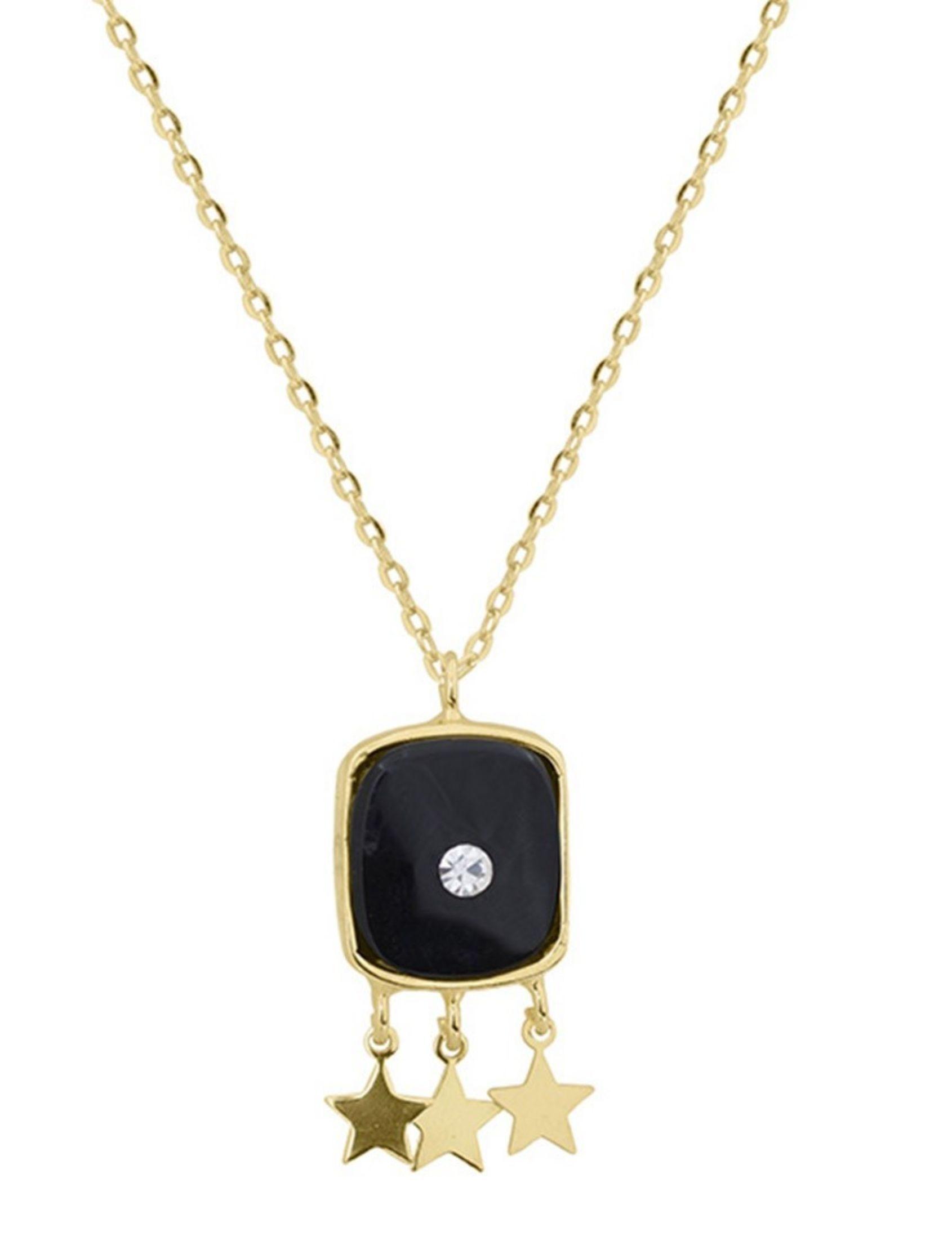 collar sofía en plata bañada en oro con onix y brillantes de la marca omitouch