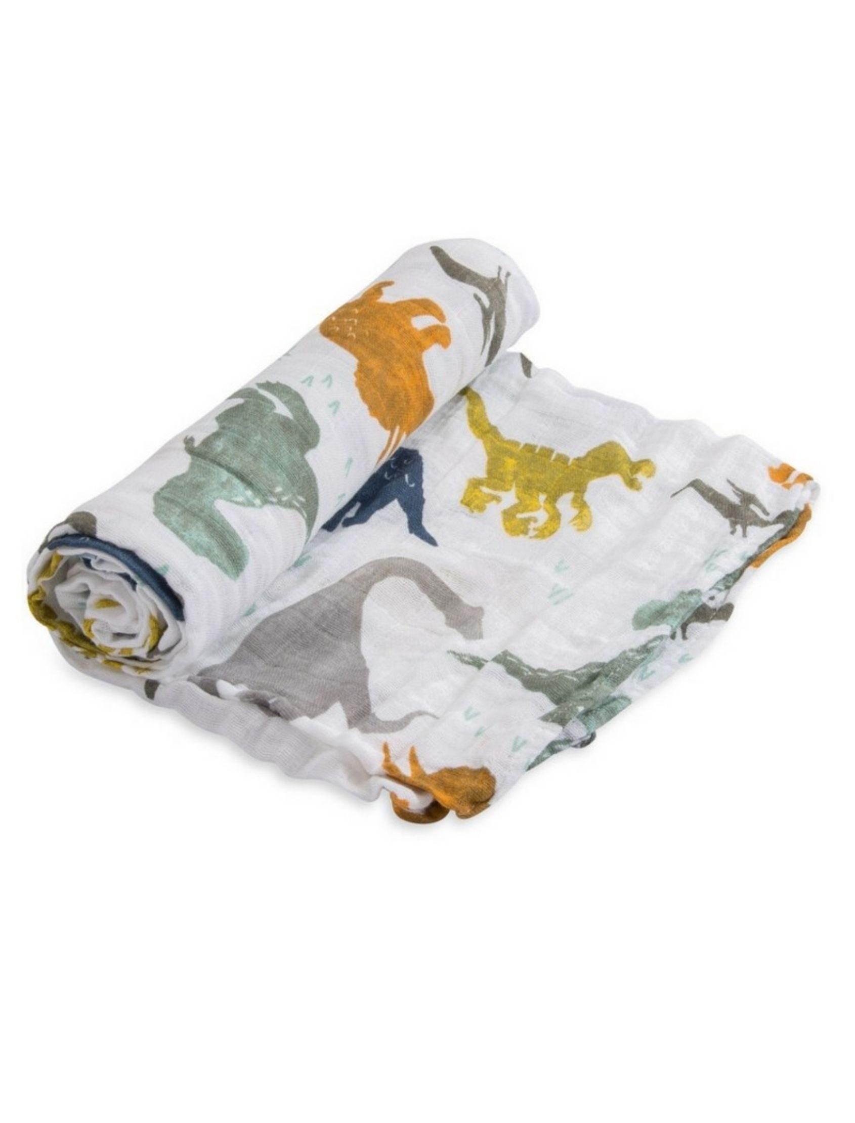 muselina de algodon con estampado de dinosaurios multicolor para bebé