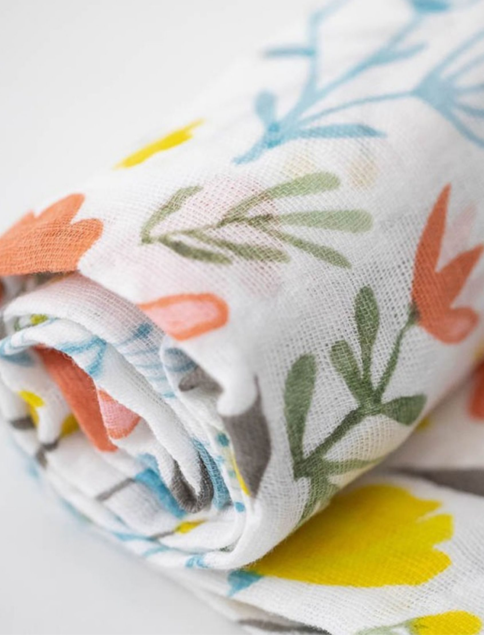 muselina de algodón con estampado de flores multicolor para bebé