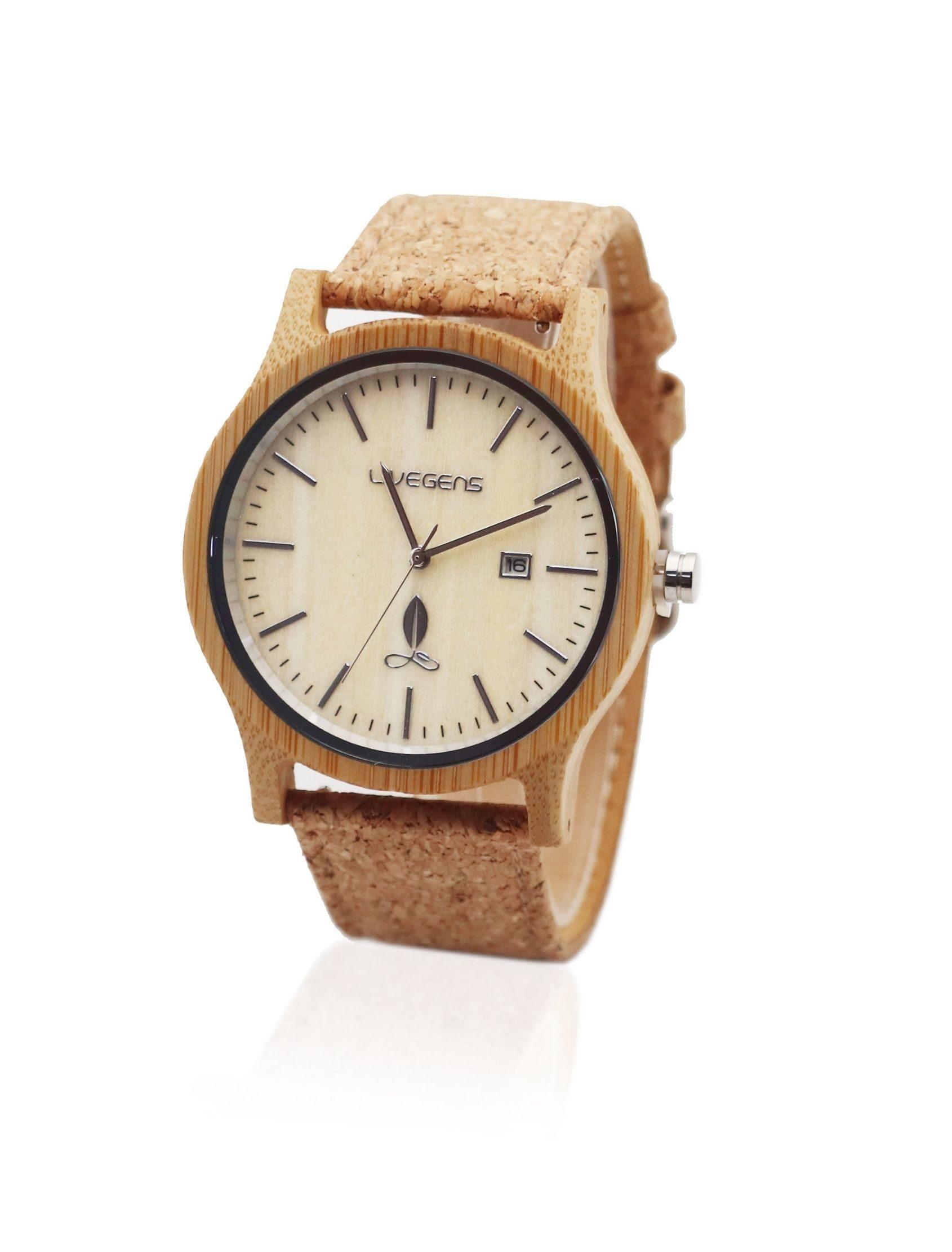reloj livegens malta con esfera de madera y correa de corcho