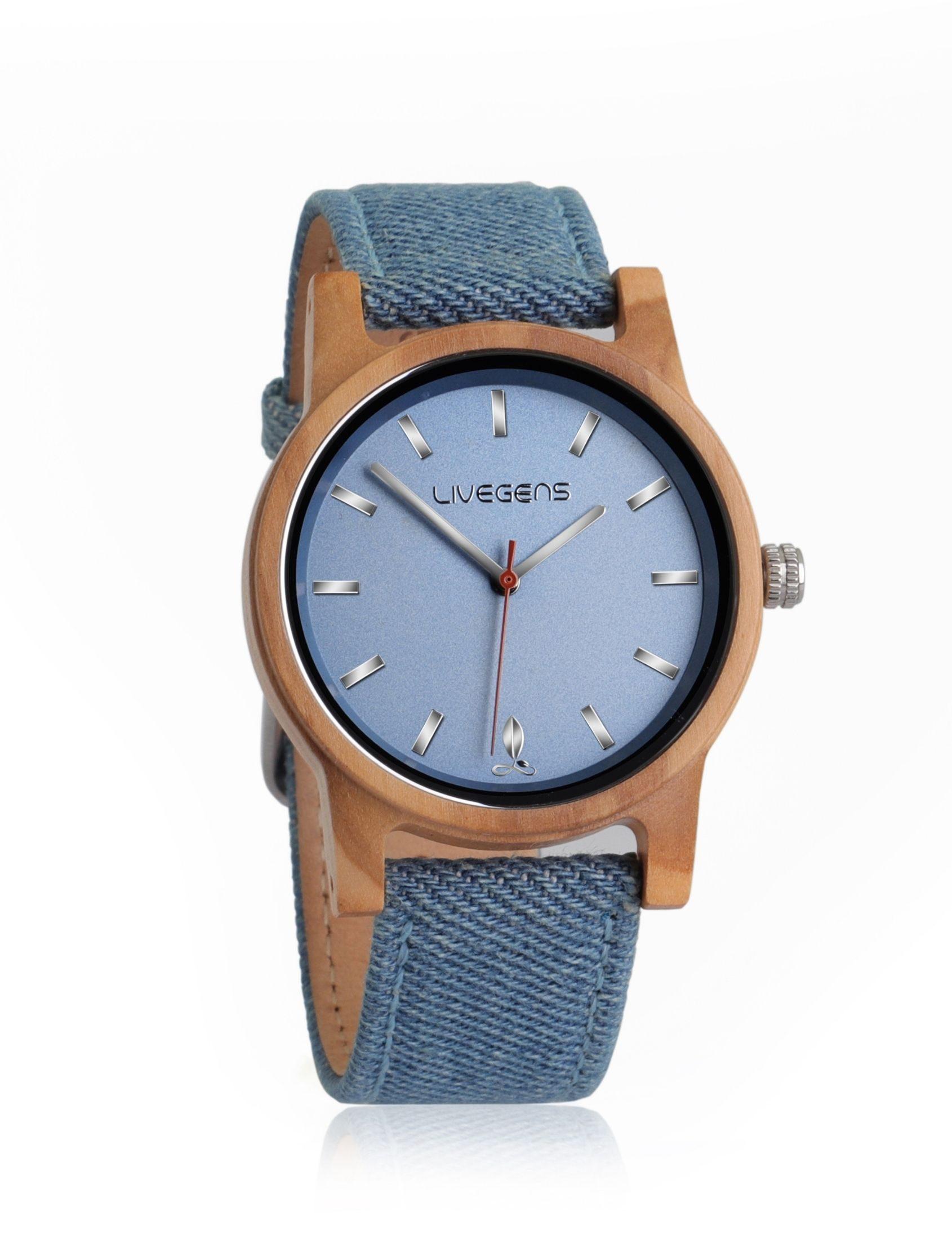 reloj livegens sea travel de madera sostenible con correa de algodón azul