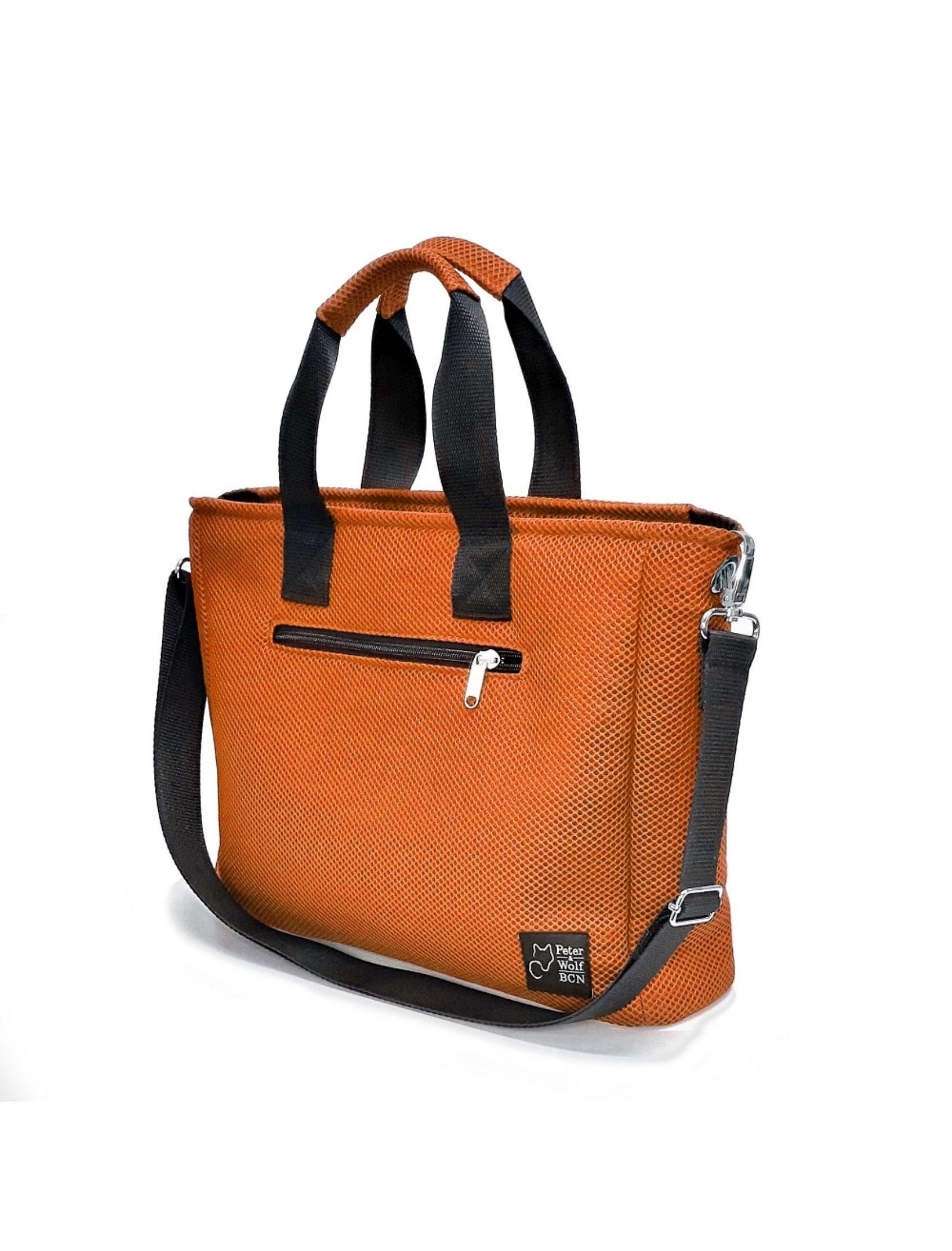 bolso box naranja de peter & wolf con tejido técnico